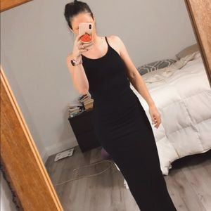 SWS Ribbed Black Bodycon Maxi Dress